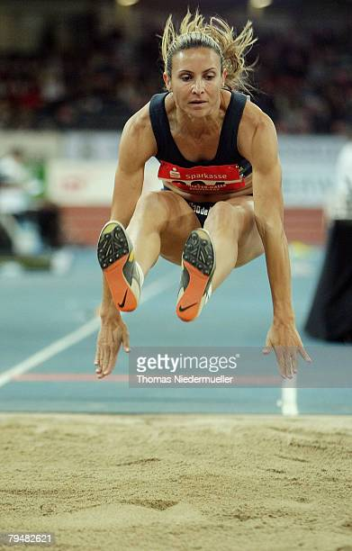 Maurren Higa Maggi of Brazil competes the long jump during the Sparkassen Cup 2008 at the Hanns-Martin Schleyer Hall on February 2, 2008 in...
