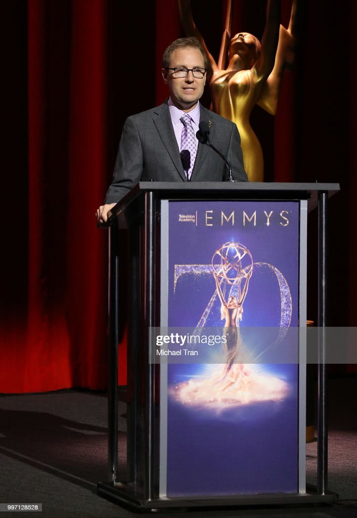 Maury McIntyre speaks onstage during the 70th Emmy Awards nominations announcement held at Saban Media Center on July 12, 2018 in North Hollywood, California.