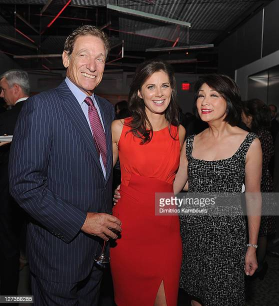 """Maury Povich, Erin Burnett and Connie Chung attend the launch party for CNN's """"Erin Burnett OutFront"""" at Robert atop the Museum of Arts and Design on..."""