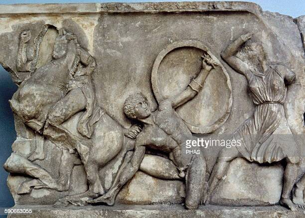 Mausoleum at Halicarnassus. 353-350 BC. Turkey. Tomb of Mausolus, Satrap in the Persian Empire and Artemisia II of Caria. Classical. Bas-reliefs by...