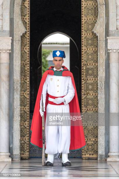 mausoleum guard, king mohammed v of morocco tomb, rabat, morocco - rabat morocco stock pictures, royalty-free photos & images