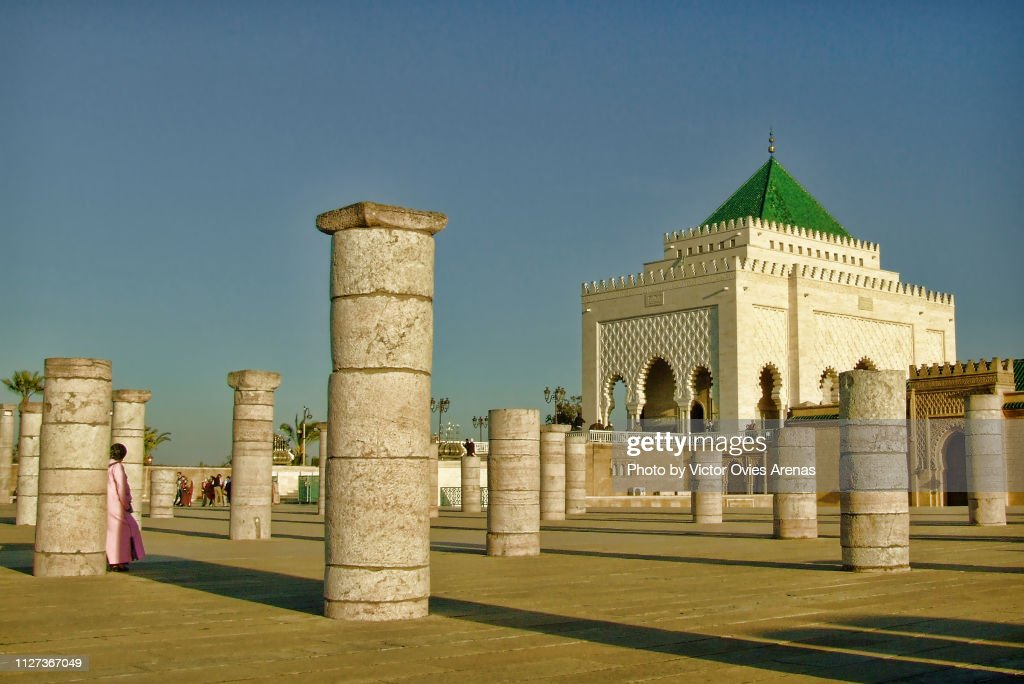 Mausoleum of Mohammed V and pillars in Rabat, Morocco : Foto de stock