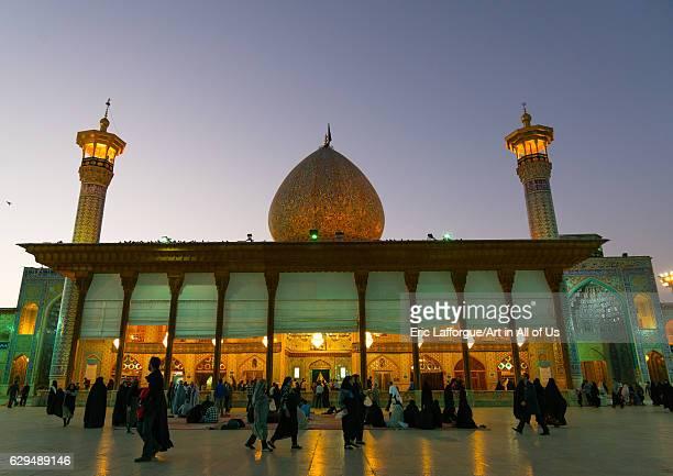 Mausoleum of Shah-e-Cheragh at sunset, Fars Province, Shiraz, Iran on October 16, 2016 in Shiraz, Iran.