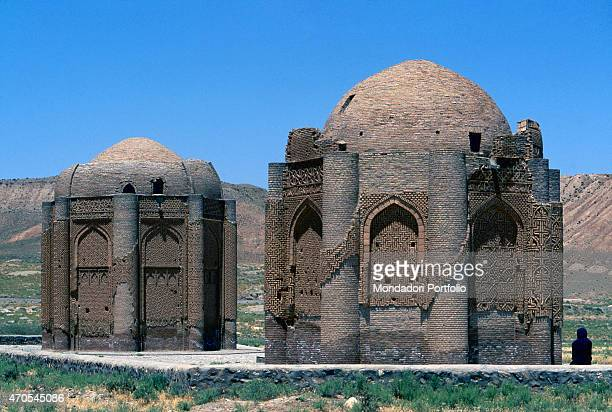'Mausoleums 10681093 11th Century mixed technique Iran Kharraghan Whole artwork view The shape and arrangement of the two mausoleums recalls the...