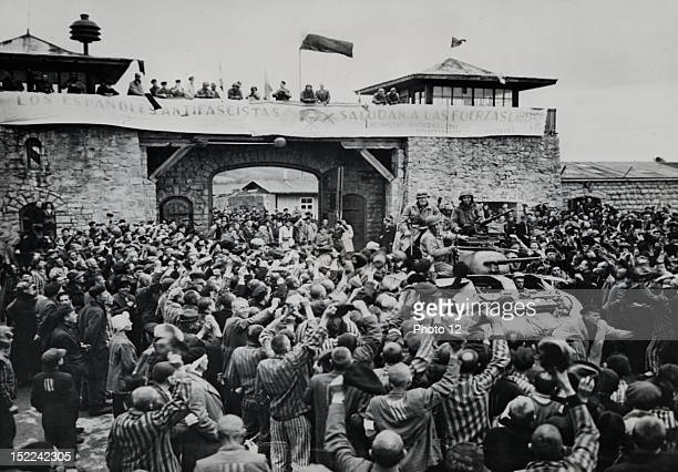 Mauthausen concentration camp was liberated shortly before the end of the war in Europe Here liberated prisoners offer a rousing welcome to...