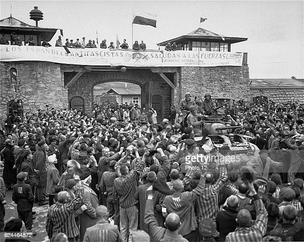 Mauthausen Survivors Cheer the Soldiers of the Eleventh Armored Division of the US Third Army
