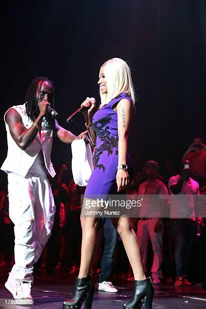 Mavado and Nicki Minaj perform at the 2013 On Da Reggae Tip concert event at Hammerstein Ballroom on August 30 2013 in New York City