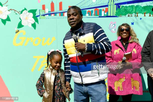 Maven Sonae Morgan and Tracy Morgan speak during The Last OG Season 2 Garden Party For Good at the Hattie Carthan Community Garden in Brooklyn on...