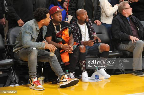 Maverick Carter and Floyd Mayweather Jr attend a basketball game between the Los Angeles Lakers and the Golden State Warriors at Staples Center on...