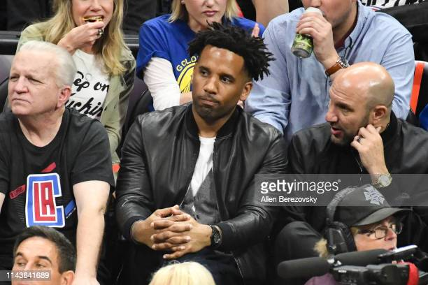 Maverick Carter attends an NBA playoffs basketball game between the Los Angeles Clippers and the Golden State Warriors at Staples Center on April 18...