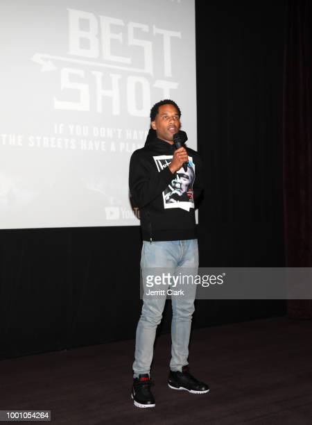 Cameron Miller a guest and Stevie 'Rome' Green Jr attend the YouTube Originals' Best Shot Premiere at The London West Hollywood on July 17 2018 in...