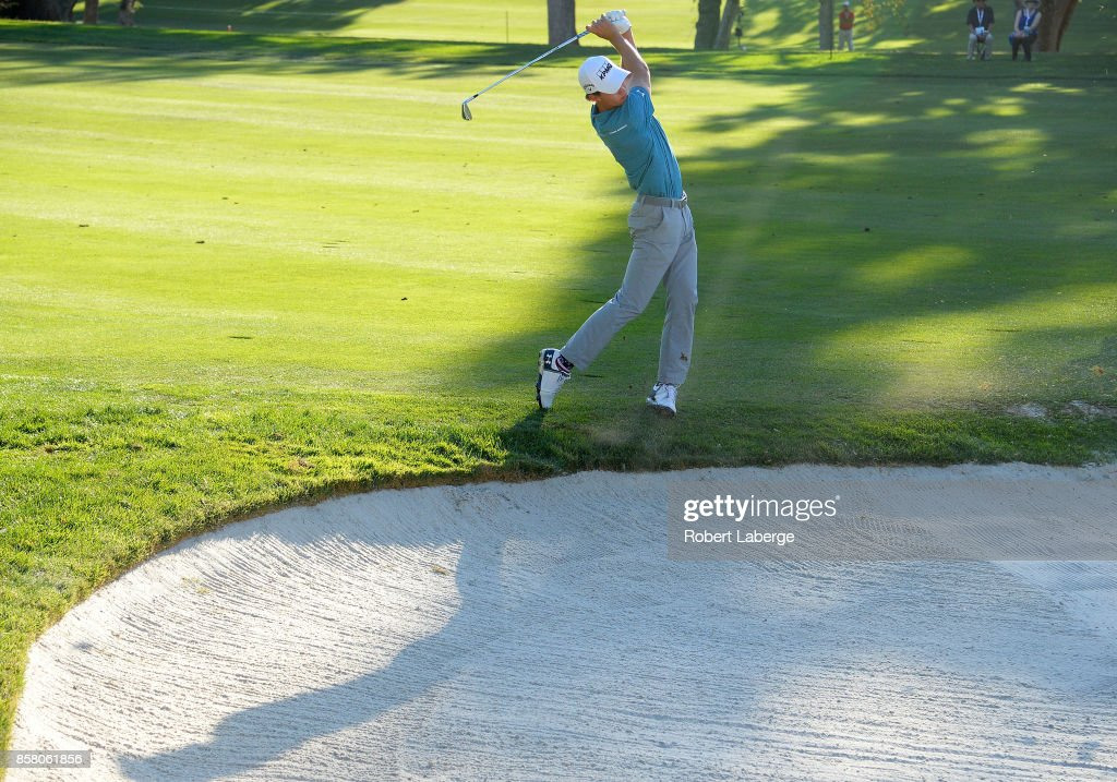 Maverick McNealy plays his shot on the 14th hole during the first round of the Safeway Open at the North Course of the Silverado Resort and Spa on October 5, 2017 in Napa, California.
