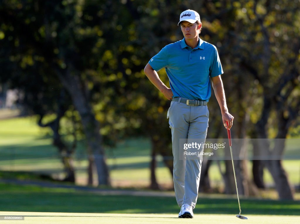 Maverick McNealy prepares to putt on the 14th hole during the first round of the Safeway Open at the North Course of the Silverado Resort and Spa on October 5, 2017 in Napa, California.