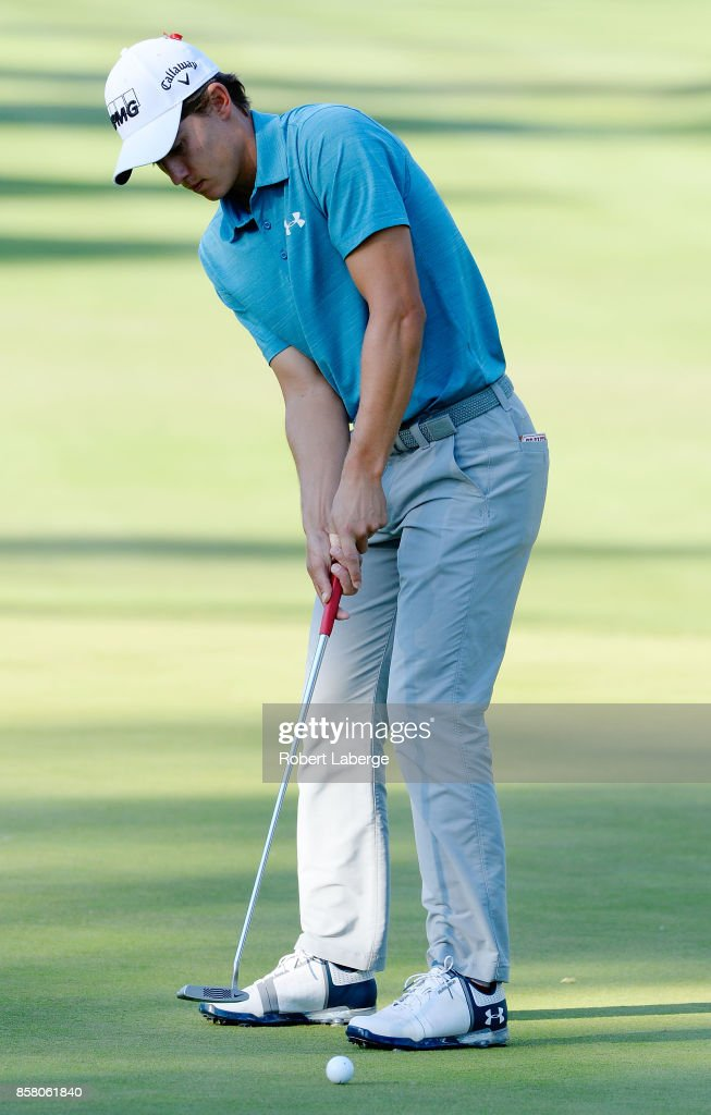 Maverick McNealy putts on the 13th hole during the first round of the Safeway Open at the North Course of the Silverado Resort and Spa on October 5, 2017 in Napa, California.