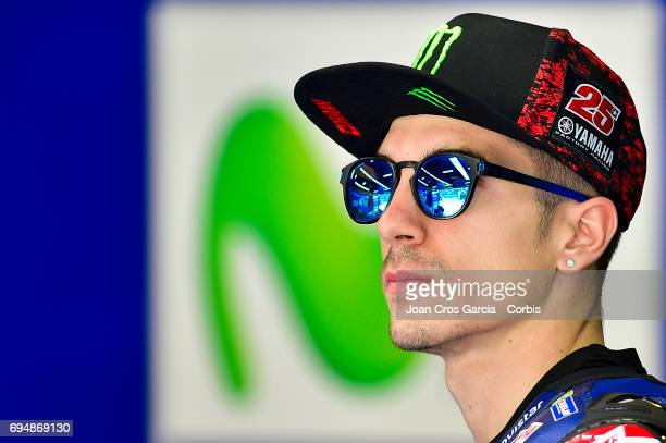 Maverick Viñales of Movistar Yamaha Moto GP team in his box before the Qualifying Moto GP of Catalunya at Circuit de Catalunya on June 10 2017 in...
