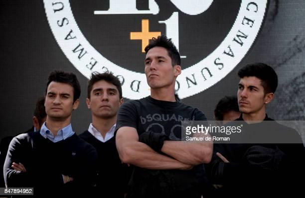Maverick Vinales Aleix Espargaro and Dani Pedrosa during the Funeral Tribute For Angel Nieto in Madrid on September 16 2017 in Madrid Spain