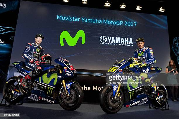 Maverick Vinales and Valentino Rossi attend 'Movistar Yamaha MotoGP 2017' presentation at Telefonica bouilding on January 19 2017 in Madrid Spain