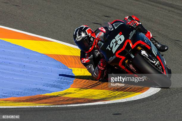 Maverick Vinales from Spain of Movistar Yamaha Moto GP during the colective tests of Moto GP at Circuito de Valencia Ricardo Tormo on November 15th...