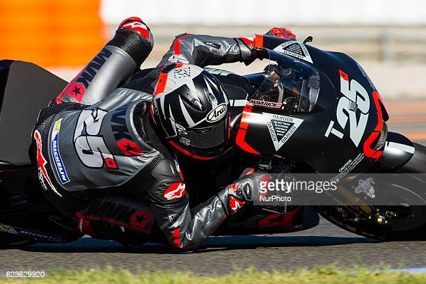 Maverick Vinales from Spain of Movistar Yamaha Moto GP during the colective tests of Moto GP at Circuito de Valencia Ricardo Tormo on November 16th...