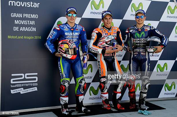 Maverick Vinales Marc Marquez and Jorge Lorenzo during closed park qualifying in Motorland Aragon