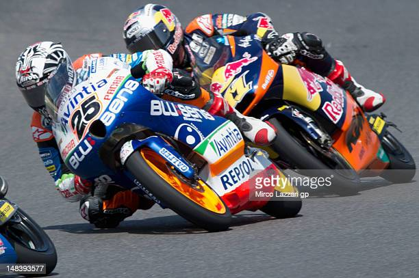 Maverick Vinales of Spain and Avintia Racing Moto3 leads the field during the Moto3 race atthe MotoGP of Italy at Mugello Circuit on July 15 2012 in...