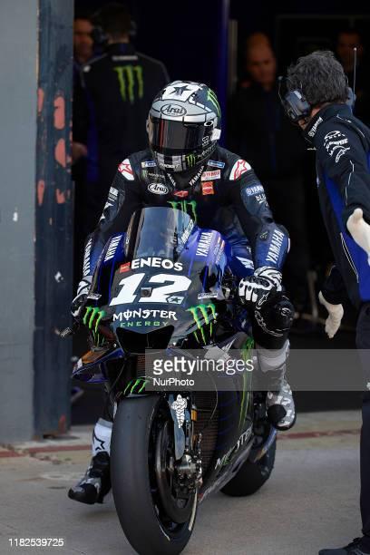 Maverick Vinales of Spain and Monster Energy Yamaha MotoGP during the free practice of Gran Premio Motul de la Comunitat Valenciana at Ricardo Tormo...