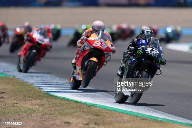 Maverick Vinales of Spain and Monster Energy Yamaha MotoGP Team leads the field during the MotoGP race during the MotoGP of Spain - Race at Circuito...