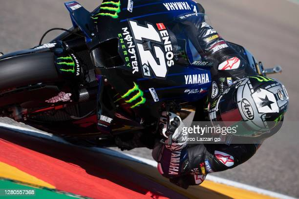 Maverick Vinales of Spain and Monster Energy Yamaha MotoGP Team rounds the bend during the free practice for the MotoGP of Aragon at Motorland Aragon...