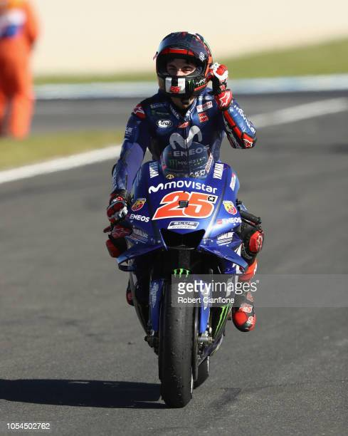 Maverick Vinales of Spain and Movistar Yamaha MotoGP celebrates after winning the 2018 MotoGP of Australia at Phillip Island Grand Prix Circuit on...
