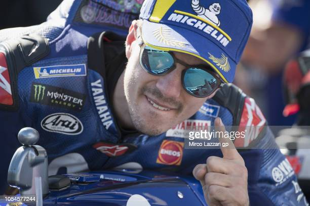 Maverick Vinales of Spain and Movistar Yamaha MotoGP celebrates the victory under the podium at the end of the MotoGP race during the MotoGP of...