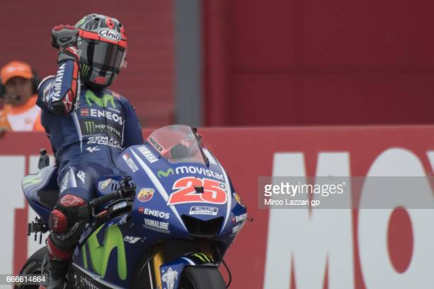 Maverick Vinales of Spain and Movistar Yamaha MotoGP celebrates the victory at the end of the MotoGP race during the MotoGp of Argentina Race on...