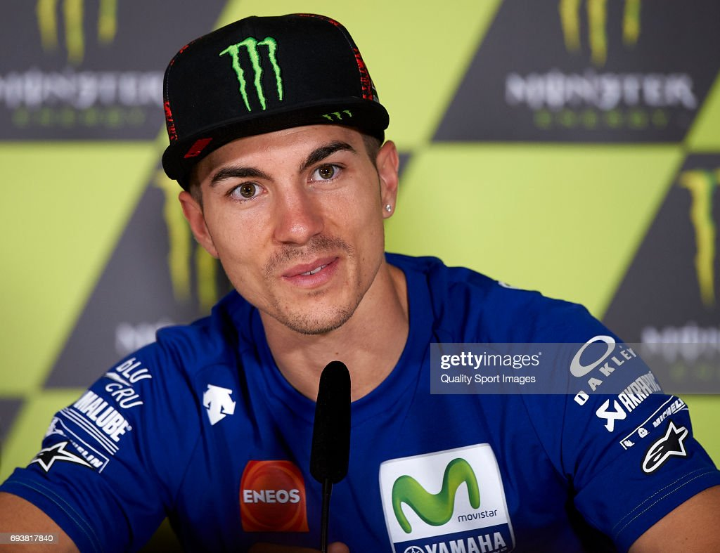 Maverick Vinales of Spain and Movistar Yamaha MotoGP during the press conference pre-event during the MotoGp of Catalunya - Previews at Circuit de Catalunya on June 8, 2017 in Montmelo, Spain.