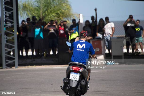 Maverick Vinales of Spain and Movistar Yamaha MotoGP greets the fans in paddock and ride the scooter during the MotoGp of Argentina Previews on April...
