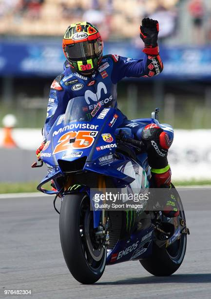 Maverick Vinales of Spain and Movistar Yamaha MotoGP greets the fans during free practice for the MotoGP of Catalunya at Circuit de Catalunya on at...