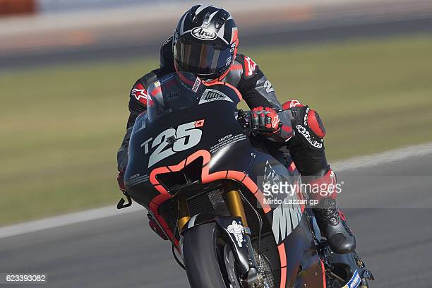 Maverick Vinales of Spain and Movistar Yamaha MotoGP heads down a straight during the MotoGp Tests In Valencia at Ricardo Tormo Circuit on November...