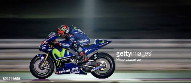 Maverick Vinales of Spain and Movistar Yamaha MotoGP heads down a straight during the MotoGP Tests In Losail at Losail Circuit on March 10 2017 in...