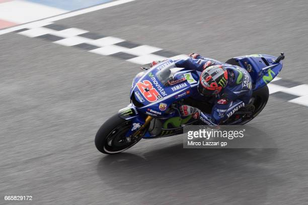 Maverick Vinales of Spain and Movistar Yamaha MotoGP heads down a straight during the MotoGp of Argentina Free Practice on April 7 2017 in Rio Hondo...