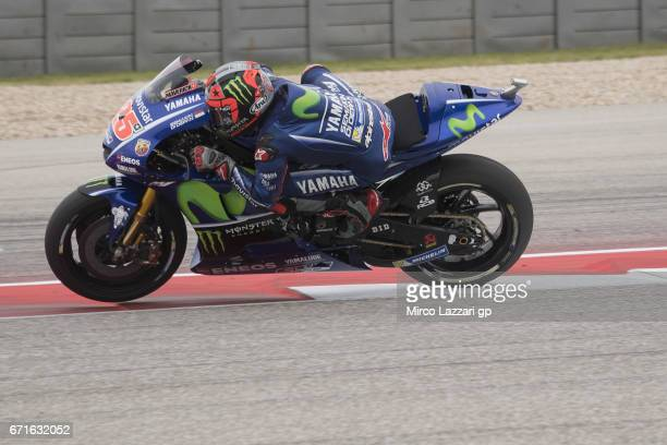 Maverick Vinales of Spain and Movistar Yamaha MotoGP heads down a straight during the qualifying practice during the MotoGp Red Bull US Grand Prix of...