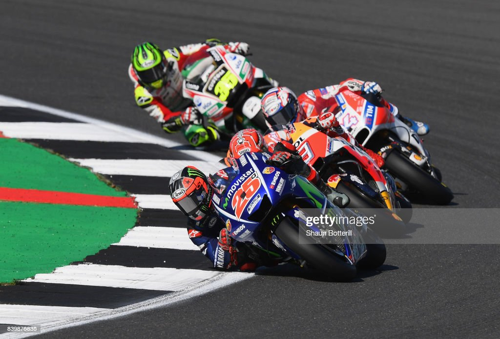 Maverick Vinales of Spain and Movistar Yamaha MotoGP in action during the MotoGP of Great Britain at Silverstone Circuit on August 27, 2017 in Northampton, England.