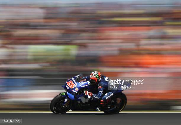 Maverick Vinales of Spain and Movistar Yamaha MotoGP leads during the 2018 MotoGP of Australia at Phillip Island Grand Prix Circuit on October 28...