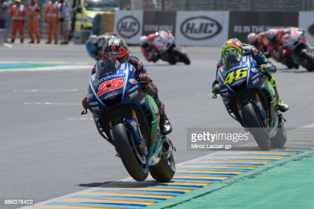 Maverick Vinales of Spain and Movistar Yamaha MotoGP leads the field during the MotoGP race during the MotoGp of France Race on May 21 2017 in Le...
