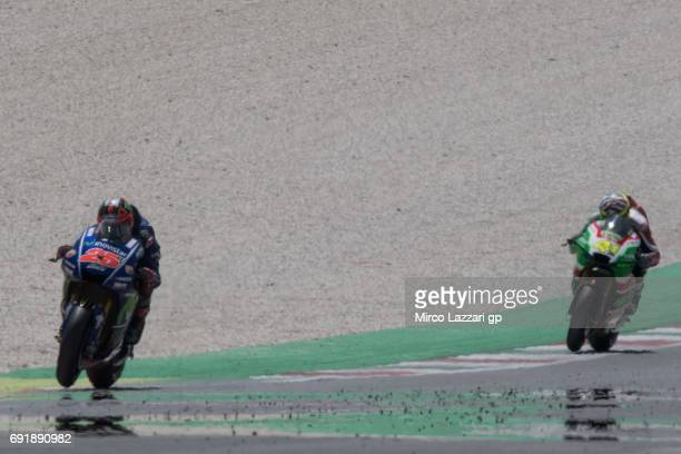 Maverick Vinales of Spain and Movistar Yamaha MotoGP leads the field during the MotoGp of Italy Qualifying at Mugello Circuit on June 3 2017 in...