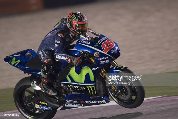 Maverick Vinales of Spain and Movistar Yamaha MotoGP lifts the front wheel during the MotoGP Tests In Losail at Losail Circuit on March 12 2017 in...