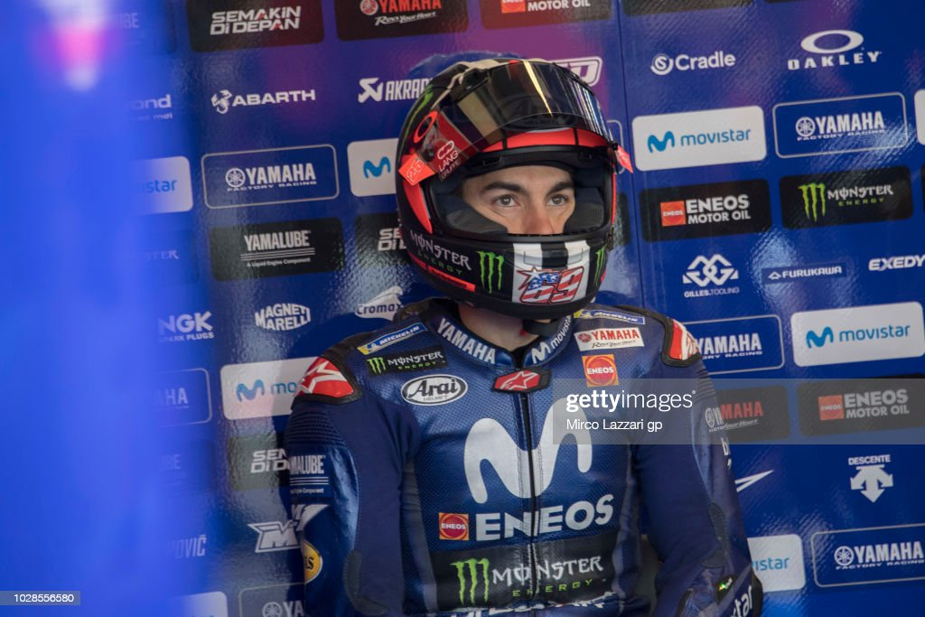 Maverick Vinales of Spain and Movistar Yamaha MotoGP looks on in box during the MotoGP of San Marino - Free Practice at Misano World Circuit on September 7, 2018 in Misano Adriatico, Italy.