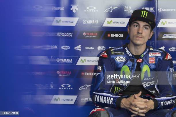 Maverick Vinales of Spain and Movistar Yamaha MotoGP looks on in box during the MotoGp of Argentina Qualifying on April 8 2017 in Rio Hondo Argentina