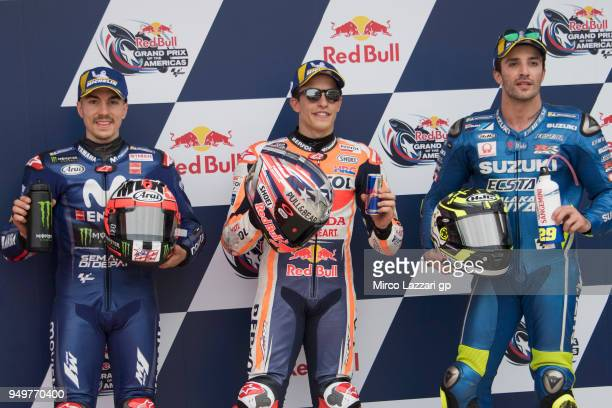 Maverick Vinales of Spain and Movistar Yamaha MotoGP Marc Marquez of Spain and Repsol Honda Team and Andrea Iannone of Italy and Team Suzuki ECSTAR...