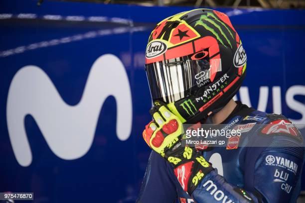 Maverick Vinales of Spain and Movistar Yamaha MotoGP prepares to start in box during the MotoGp of Catalunya Free Practice at Circuit de Catalunya on...