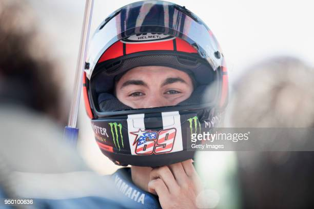 Maverick Vinales of Spain and Movistar Yamaha MotoGP prepares to start on the grid during the MotoGP race during the MotoGp Red Bull US Grand Prix of...