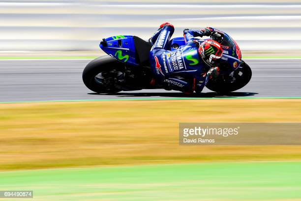 Maverick Vinales of Spain and Movistar Yamaha MotoGP rides during a free practice session ahead of the qualifying at Circuit de Catalunya on June 10...