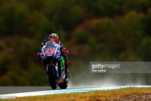 Maverick Vinales of Spain and Movistar Yamaha MotoGP rides during free practice for the MotoGP of Spain at Circuito de Jerez on May 5 2017 in Jerez...